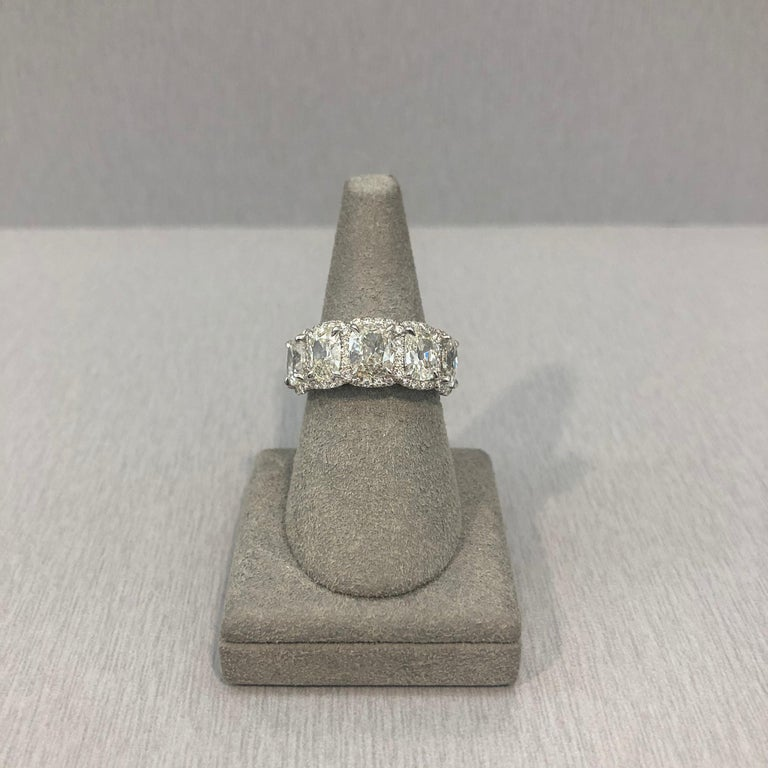 4.38 Carat Cushion Cut Diamond Halo Wedding Band In New Condition For Sale In New York, NY