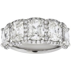 4.38 Carat Cushion Cut Diamond Halo Wedding Band