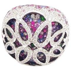 4.38 Carat Diamond Multi Sapphire 18 Karat White Gold Ring