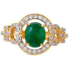 4.38 Carat Emerald and Diamond 18 Karat Yellow Gold Ring
