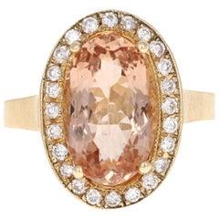 4.38 Carat Morganite Diamond 14 Karat Yellow Gold Cocktail Ring
