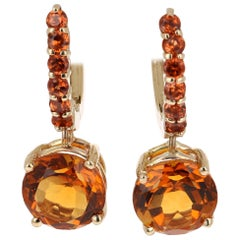 4.38 Carat Orange Garnet and Citrine Drop Earrings