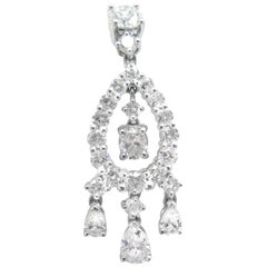 4.38 Carat Pear Shape Diamond Drop Earrings Set in Platinum