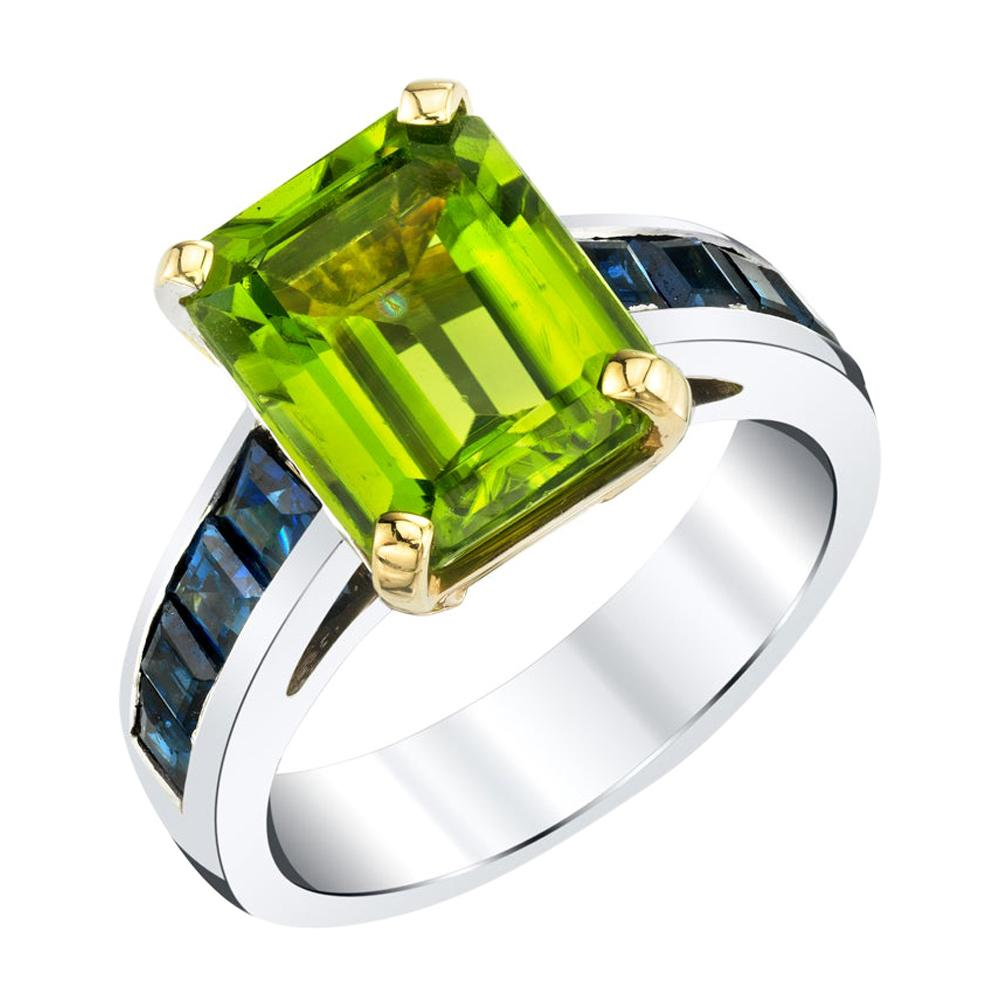 4.38 Carat Peridot & Sapphire Baguette White & Yellow Gold Cocktail Band Ring