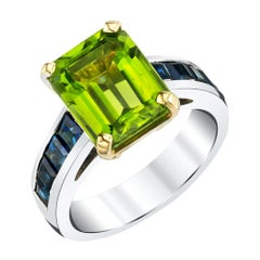 4.38 Carat Peridot & Sapphire Baguette Cocktail Ring 18k White & Yellow Gold