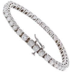 4.38 Carat Total Round Diamond 4 Prong Tennis Bracelet in 18 Karat White Gold