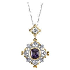 4.39 ct. Purple Spinel, Diamond 18k Yellow & White Gold Florentine Drop Pendant