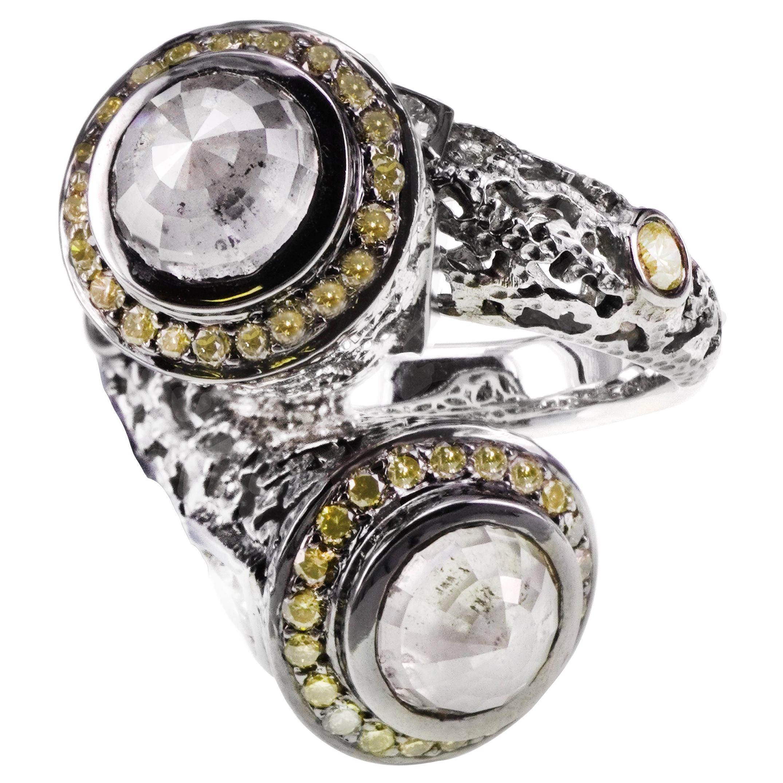 4.39 Carat Fancy White Diamond Antique Moghul Style 18K Gold Heavy Ring