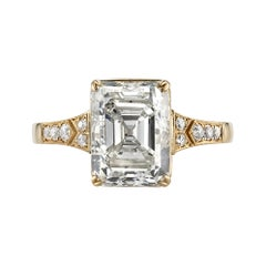 4.39 Carat GIA Certified Cushion Cut Diamond Set in an 18 Karat Yellow Gold Ring