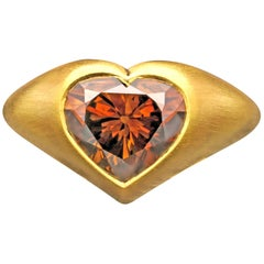 4.39 Carat Rare Fancy Dark Orangey Brown Diamond 22K 'Gypsy' Ring by Hancocks