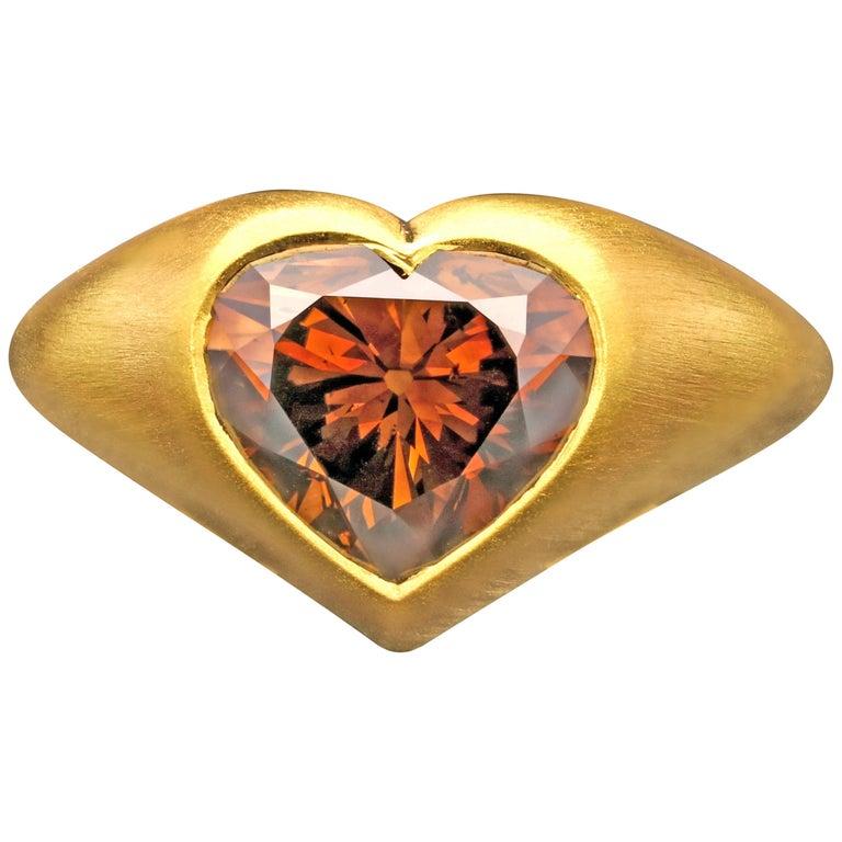 4.39 Carat Rare Fancy Dark Orangey Brown Diamond 22K 'Gypsy' Ring by Hancocks For Sale