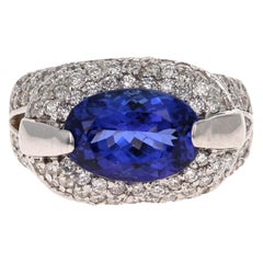 4.39 Carat Tanzanite Diamond 14 Karat White Gold Cocktail Ring