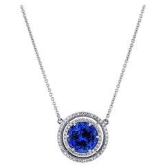 H&H 4.39 Carat Tanzanite Pave Diamond Double Halo Pendant Necklace