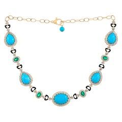 43.98 Carat Turquoise Emerald Diamond and Black Enamel Necklace