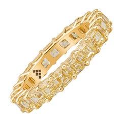 4.39ctw Fancy Yellow Asscher Cut Diamonds in 18kt Yellow Gold Eternity Band