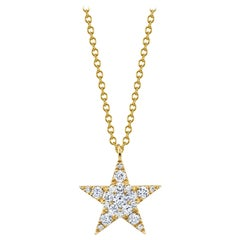 ".44 Carat Diamond 18 Karat Yellow Gold ""Star"" Pendant"