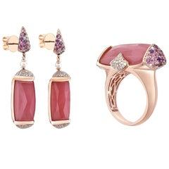 44 Carat Guava Quartz Ring and Earring Set in 18 Karat Rose Gold with Diamonds