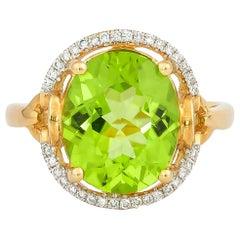 4.4 Carat Peridot and Diamond Ring in 18 Karat Yellow Gold