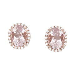 4.4 Carat Oval Pink Morganite and Diamond Halo Stud Earrings in Rose Gold