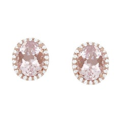 4.4 Carat Pink Morganite and Diamond Stud Earrings