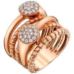 .44 ct. t.w. Diamond Pave and 18 Karat Rose Gold Multi-Band Bypass Ring