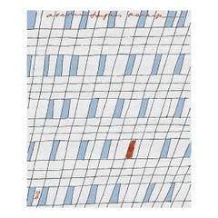 П44 - Geometric Designer Hand Knotted Wool Silk Rug