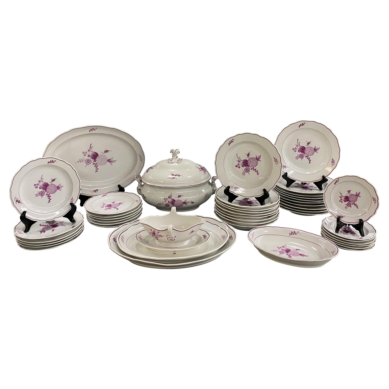 49-Piece Meissen Porcelain Dinner Service in Rare Puce/Purple Color