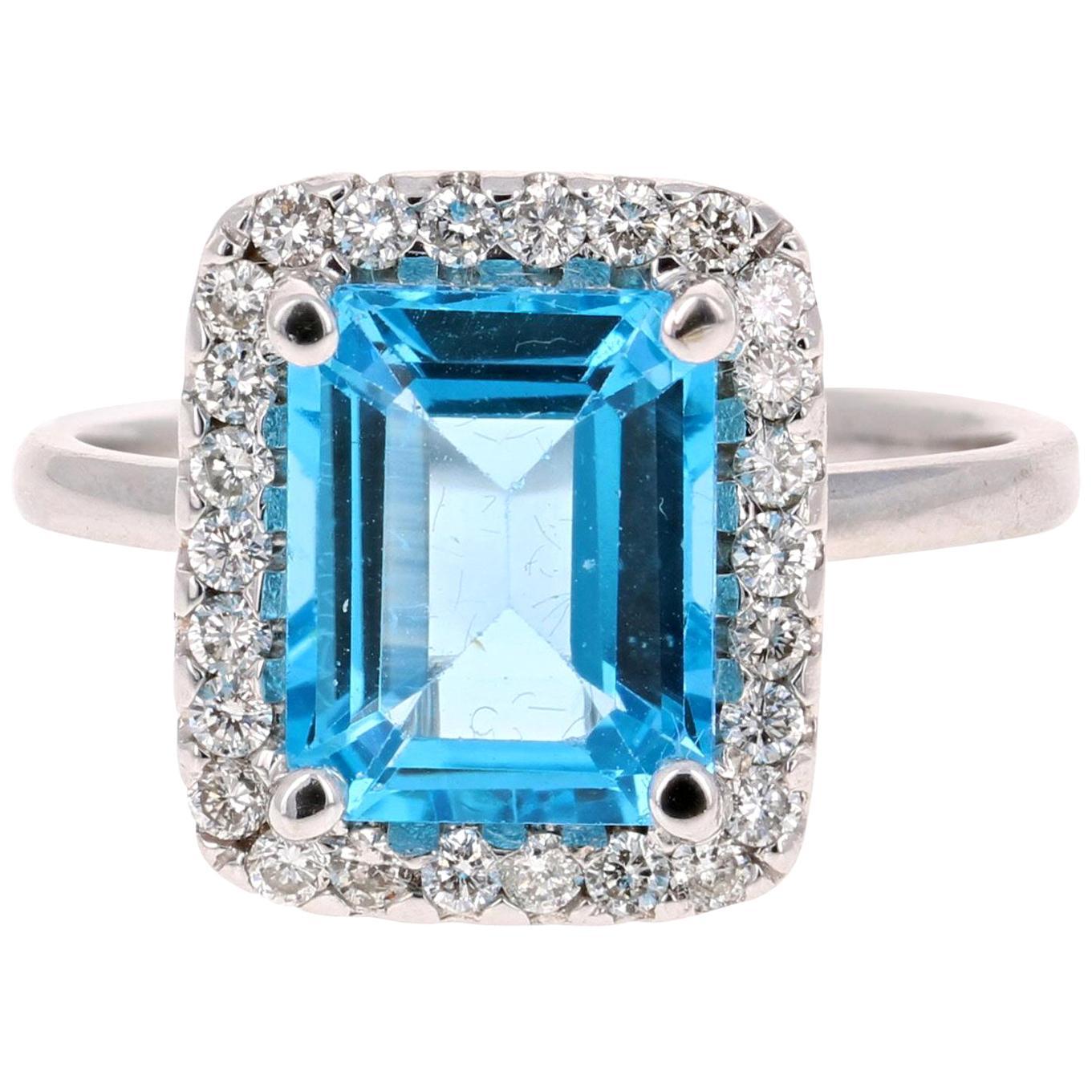 4.40 Carat Blue Topaz Diamond 14 Karat White Gold Cocktail Ring