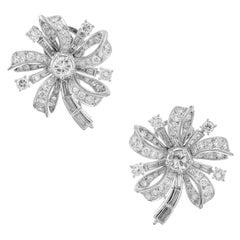 4.40 Carat Diamond White Gold Flower Earrings