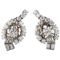 4.40 Carat Diamonds French Vintage Earrings Clip