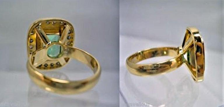 4.40 Carat Emerald Cut Colombian Emerald Diamond Halo Ring 18 Karat Gold For Sale 1