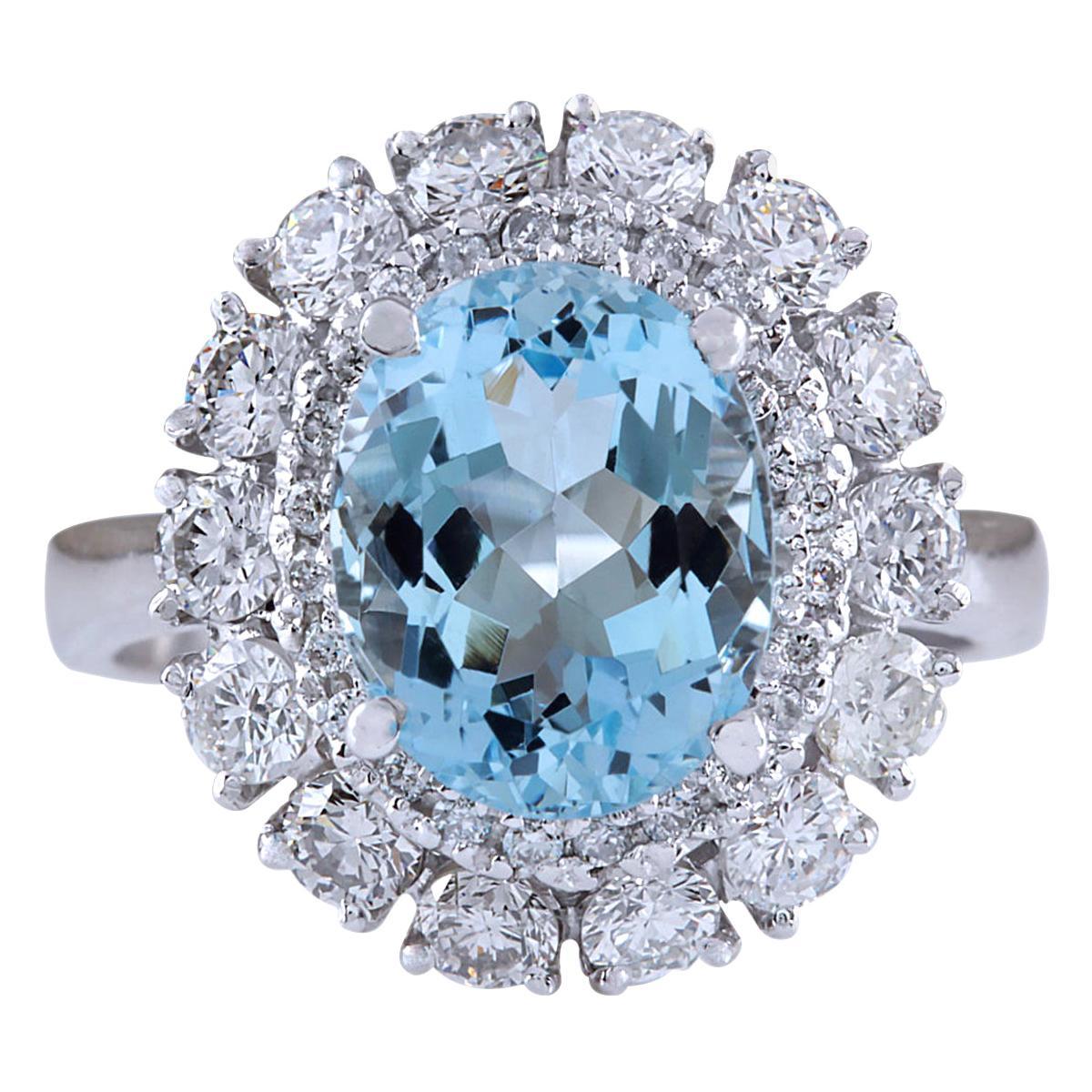 4.40 Carat Natural Aquamarine 18 Karat White Gold Diamond Ring