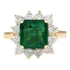 4.40 Carat Natural Emerald 18 Karat Yellow Gold Diamond Ring