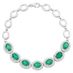 4.40 Carat Oval Emerald Halo Classic Link Bracelet Round Diamond 14k White Gold