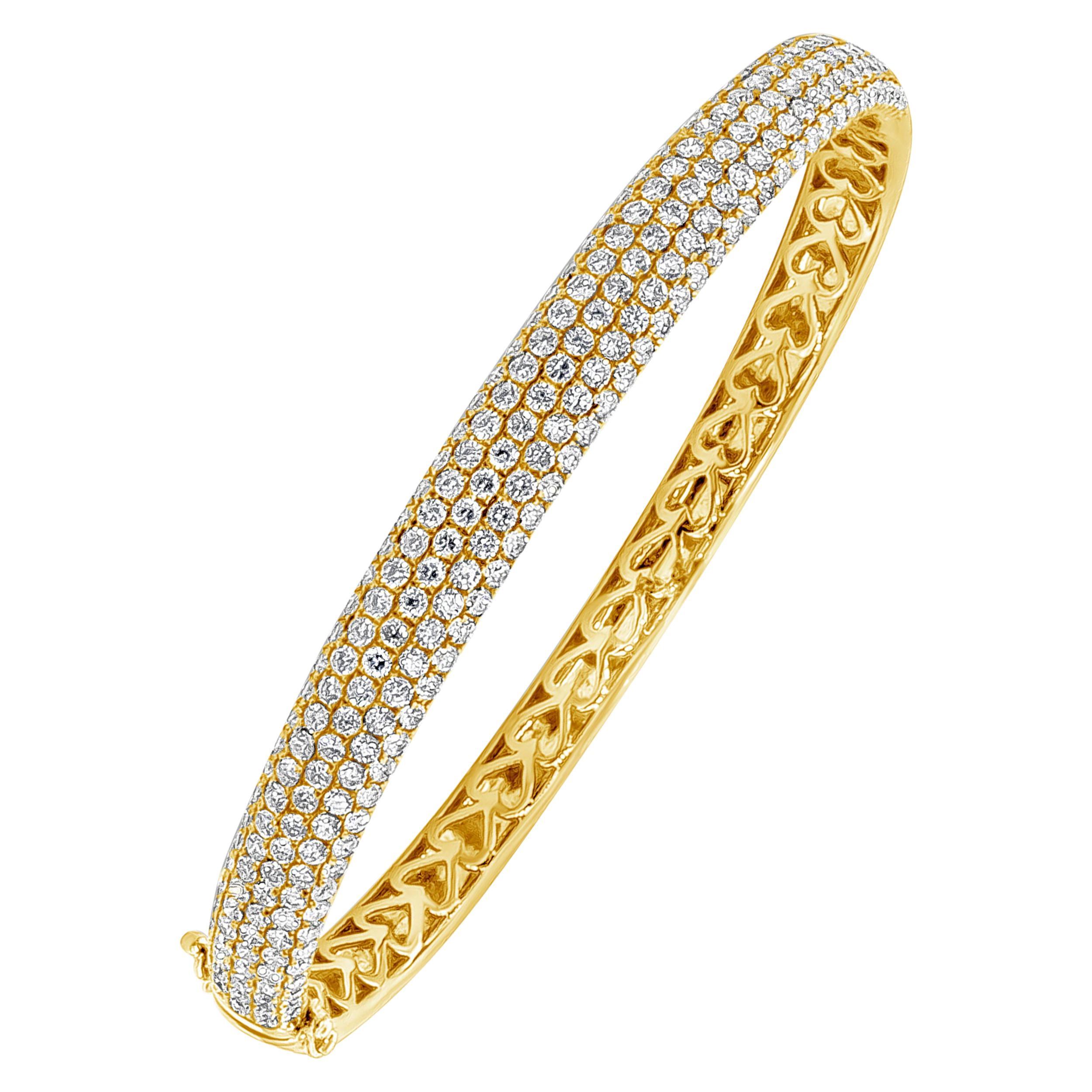 Roman Malakov 4.40 Carat Round Diamond Micro-Pave Bangle Bracelet