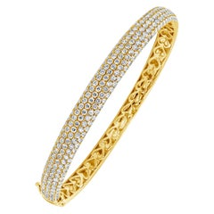 4.40 Carat Round Diamond Micro-Pave Bangle Bracelet