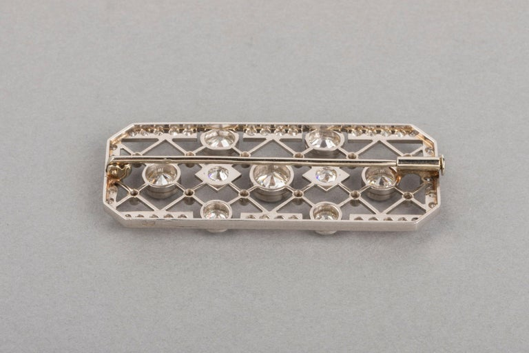 4.40 Carat French Art Deco Diamond Brooch For Sale 6