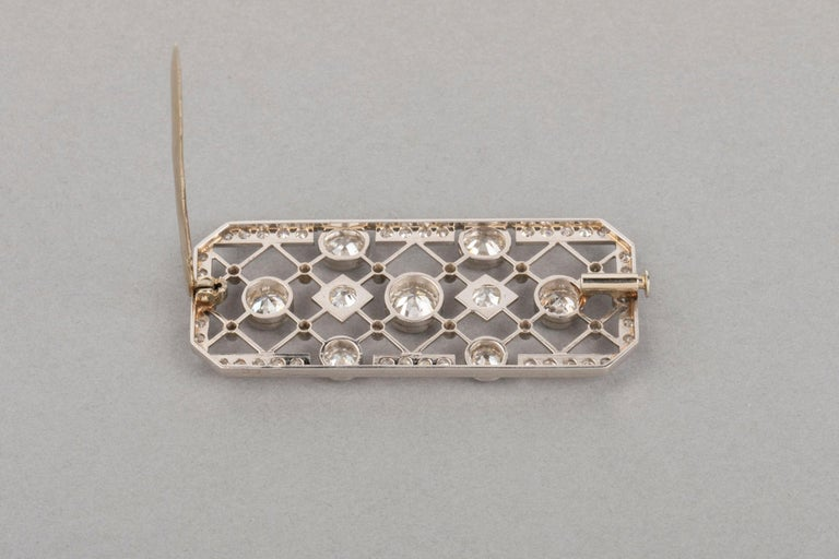 4.40 Carat French Art Deco Diamond Brooch For Sale 7