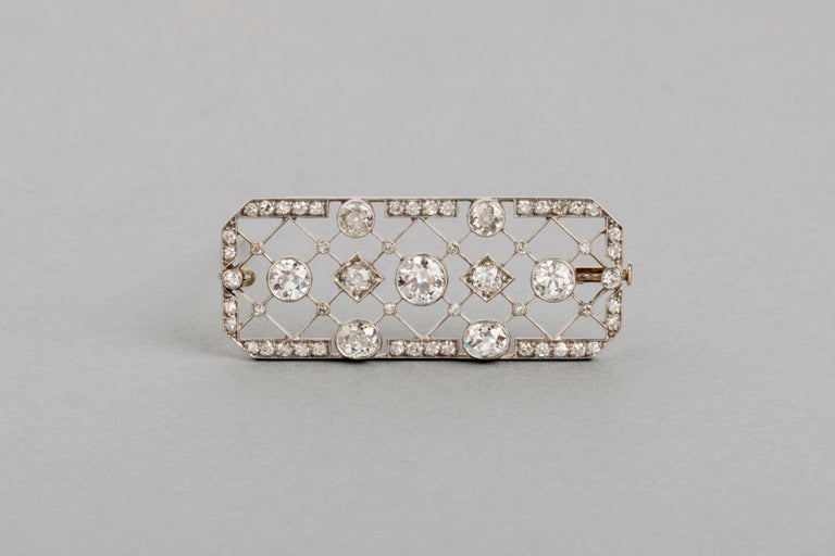 4.40 Carat French Art Deco Diamond Brooch For Sale 8