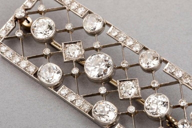 Women's 4.40 Carat French Art Deco Diamond Brooch For Sale