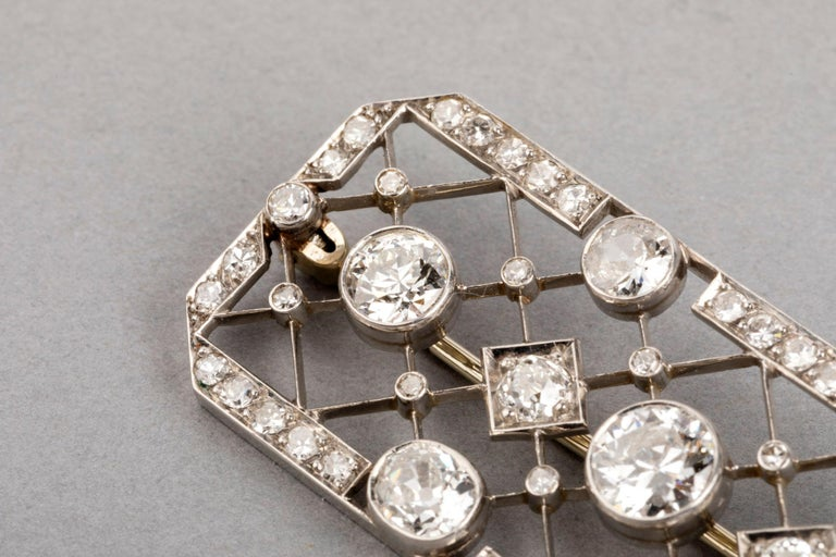 4.40 Carat French Art Deco Diamond Brooch For Sale 1