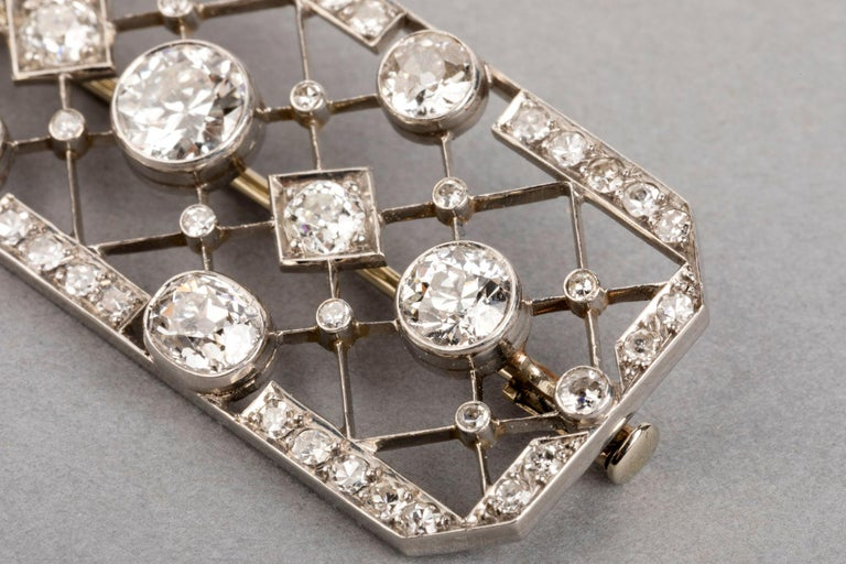 4.40 Carat French Art Deco Diamond Brooch For Sale 2