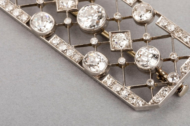 4.40 Carat French Art Deco Diamond Brooch For Sale 3