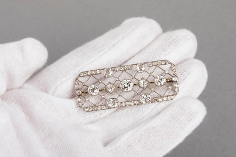 4.40 Carat French Art Deco Diamond Brooch For Sale 4