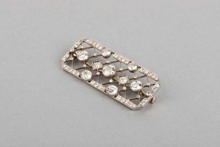 4.40 Carat French Art Deco Diamond Brooch For Sale 5