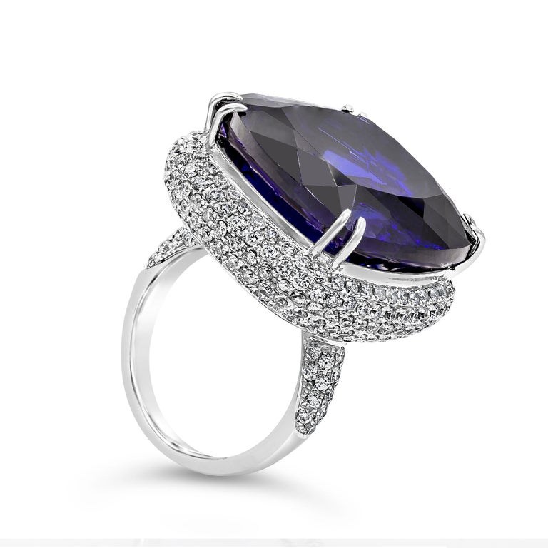 Contemporary 44.04 Carat Tanzanite and Diamond Cocktail Ring For Sale