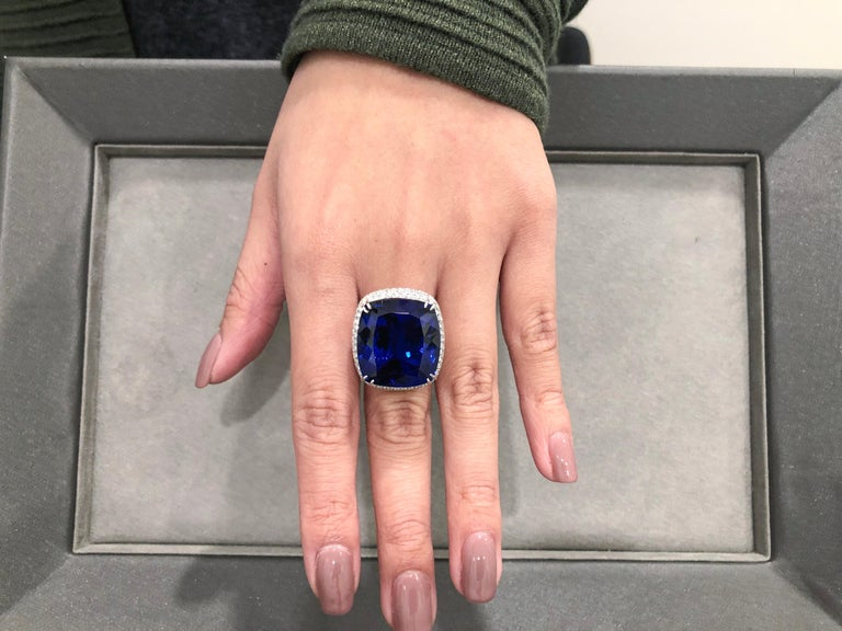 Cushion Cut 44.04 Carat Tanzanite and Diamond Cocktail Ring For Sale