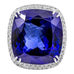 Roman Malakov 44.04 Carat Tanzanite and Diamond Cocktail Ring