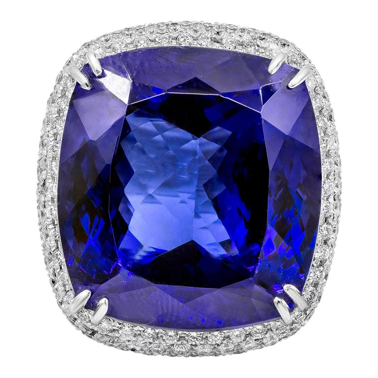 44.04 Carat Tanzanite and Diamond Cocktail Ring For Sale