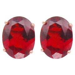 4.41 Carat Oval Red Garnet Faceted Stud Push Back Earrings 14K Rose Gold